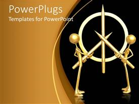 PowerPlugs: PowerPoint template with two 3D men holding golden pencils to form a symbol on black background
