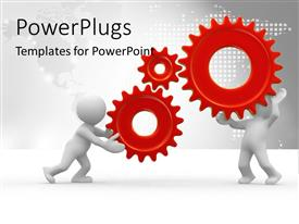 PowerPlugs: PowerPoint template with two 3D men holding three gears connected together firmly