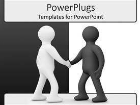 PowerPlugs: PowerPoint template with two 3D men shake hands on contrasting background