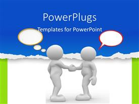 PowerPlugs: PowerPoint template with two 3D men with speech bubbles shake hands over white background