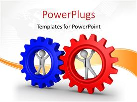 PowerPlugs: PowerPoint template with two 3D men standing inside red and blue connected cogwheels