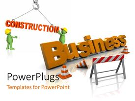 PowerPlugs: PowerPoint template with two 3D text that spell out the words 'Construction Business'
