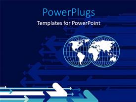 PowerPlugs: PowerPoint template with two 3D transparent globes with lots of blue arrows
