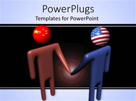 PowerPoint template displaying two abstract people with Chinese and American flag as heads shaking hands