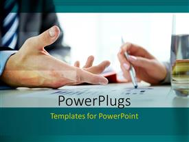 PowerPlugs: PowerPoint template with two adult business hands holding a pen on some documents