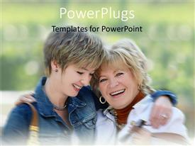 PowerPlugs: PowerPoint template with two adult females smiling and also hugging them selves