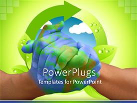 PowerPlugs: PowerPoint template with two adult hands clasped together with a recycle symbol