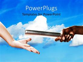 PowerPlugs: PowerPoint template with two adult hands exchanging a baton on a blue cloudy background