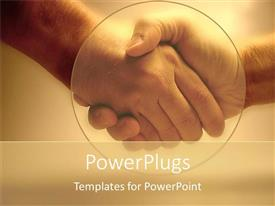 PowerPlugs: PowerPoint template with two adult hands shaking hands in agreement on a brown colored background