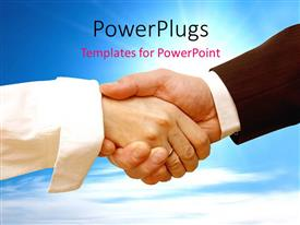 PowerPlugs: PowerPoint template with two adult hands shaking under a clear blue shy