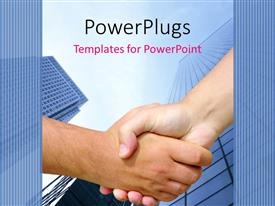 PowerPoint template displaying two adult hands shaking under a tall sky scrapper