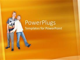 PowerPoint template displaying two adult male and female smiling on an orange background