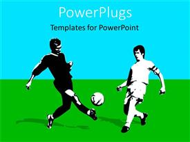 PowerPlugs: PowerPoint template with two adult males kicking a ball on a grass field