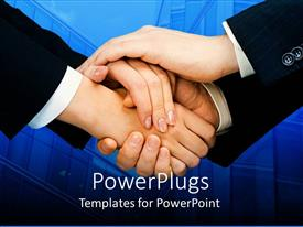 PowerPoint template displaying two adult pair of hands on a blue colored background