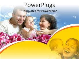 PowerPlugs: PowerPoint template with two adults and a baby girl smiling in the midst of flowers