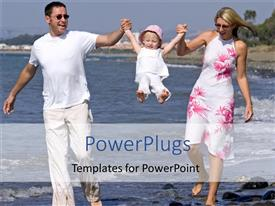 PowerPlugs: PowerPoint template with two adults and a baby walking on a beach