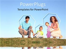 PowerPoint template displaying two adults with two children kneeling on a grass