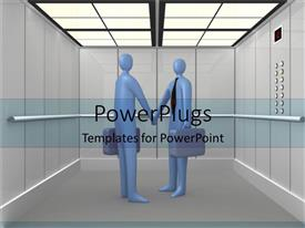 PowerPoint template displaying two animated human figures shaking hands in an elevator