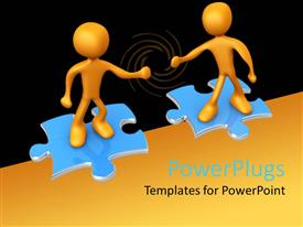 PowerPlugs: PowerPoint template with two animated human figures standing on two puzzle pieces
