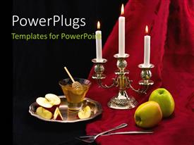 PowerPlugs: PowerPoint template with two apples beside a candle stand to celebrate the Jewish holiday