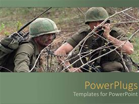 PowerPoint template displaying two army men during the war