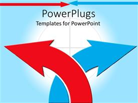 PowerPlugs: PowerPoint template with two arrows with bluish background and place for text