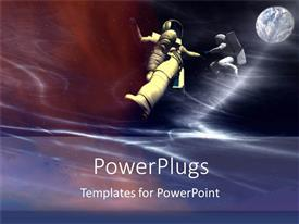 PowerPlugs: PowerPoint template with two astronauts in space with moon, globe, Planet Earth