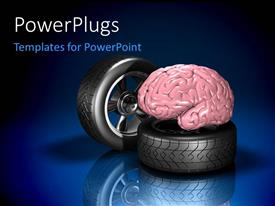 PowerPlugs: PowerPoint template with two automotive wheel with human brain on blue background