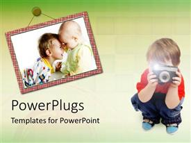 PowerPlugs: PowerPoint template with two babies in picture frame, boy taking photograph with camera, photography