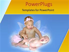 PowerPlugs: PowerPoint template with two babies playing and lying on a blue surface