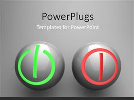 PowerPlugs: PowerPoint template with two balls representing the switch on/off buttons