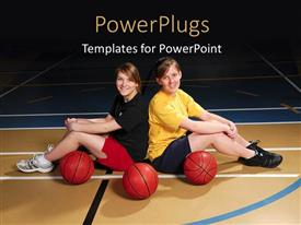 PowerPoint template displaying two basketball players with court in background