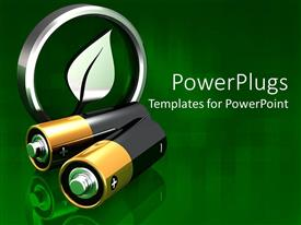 PowerPoint template displaying two batteries in front of metal green leaf in circle symbol on green background symbolizing environment