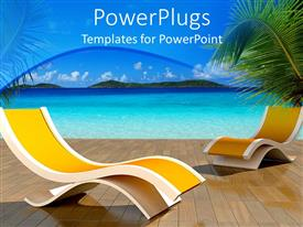 PowerPlugs: PowerPoint template with two beach chairs o a wooden plane with a blue sea