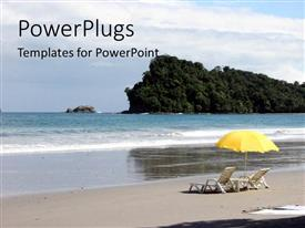 PowerPoint template displaying two beach chairs and a yellow umbrella on the shores of a beach
