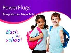 PowerPoint template displaying two beautiful kids dressed for school with text BACK TO SCHOOL