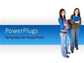 PowerPlugs: PowerPoint template with two beautiful ladies dressed for school with backpacks and books