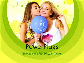 PowerPoint template displaying two beautiful sisters with blue smiley balloon over green background