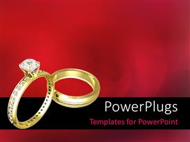 PowerPlugs: PowerPoint template with two Beautiful wedding rings on a blurred flowery background