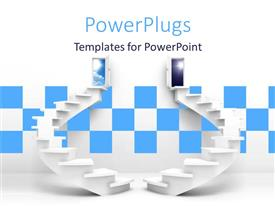 PowerPlugs: PowerPoint template with two beautiful white spiral stairs leading to cloudy sky and night sky