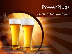 PowerPlugs: PowerPoint template with two beer glasses with brownish background