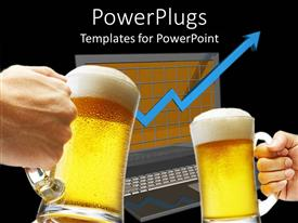 PowerPlugs: PowerPoint template with two beers toasting over a laptop showing arrow moving up
