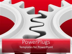 PowerPlugs: PowerPoint template with two big ash colored gears interlocked on a red background