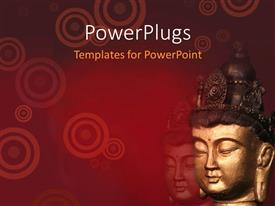PowerPoint template displaying two big statue Buddha heads on a red background