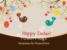 PowerPlugs: PowerPoint template with two birds with floral background and place for text
