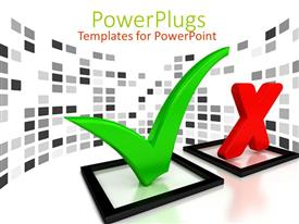 PowerPlugs: PowerPoint template with two black check boxes with a pass mark and 'X' mark