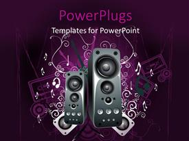 PowerPlugs: PowerPoint template with two black speakers on an abstract purple colored background