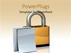 PowerPoint template displaying two blank documents beside large brass padlock on white surface