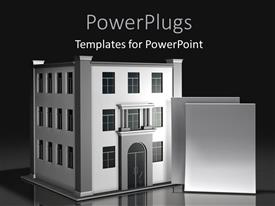 PowerPoint template displaying two blank documents standing upright in front of three-story office with black color