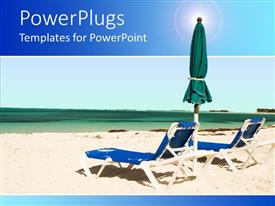 PowerPoint template displaying two blue beach chairs with an umbrella on a sea shore